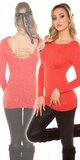 Dámsky sveter s retiazkami so žiarivým efektom Koralová