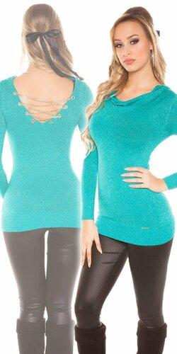 Dámsky sveter s retiazkami so žiarivým efektom | Zafírová
