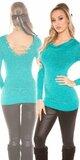 Dámsky sveter s retiazkami so žiarivým efektom Zafírová