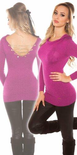 Dámsky sveter s retiazkami so žiarivým efektom | Fialová
