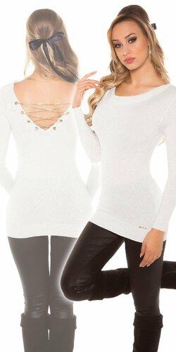 Dámsky sveter s retiazkami so žiarivým efektom | Biela