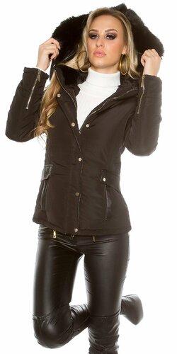 Dámska zimná bunda s umelou kožušinou (Čierna)