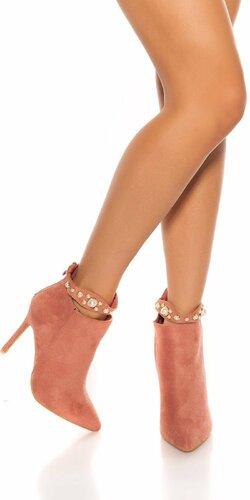 Členkové čižmy s dekoratívnymi perlami