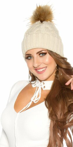 Zimná pletená čapica s odnímateľným bombrlcom Béžová