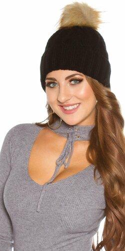 Zimná pletená čapica s odnímateľným bombrlcom (Čierna)