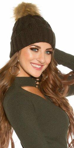 Zimná pletená čapica s odnímateľným bombrlcom | Khaky