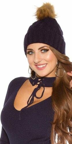Zimná pletená čapica s odnímateľným bombrlcom (Tmavomodrá)