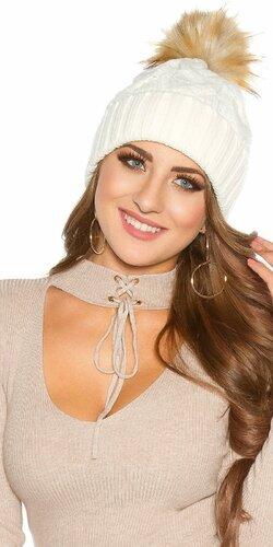 Zimná pletená čapica s odnímateľným bombrlcom Biela