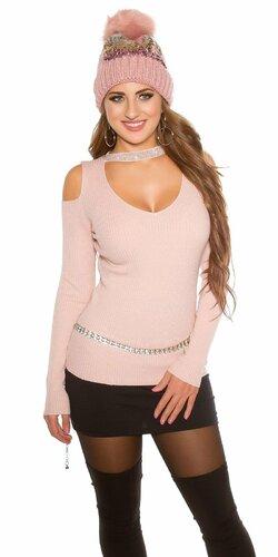 Vrúbkovaný sveter s nitmi Bledá ružová