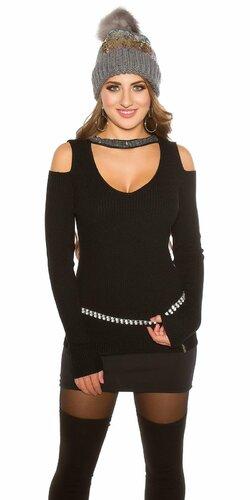Vrúbkovaný sveter s nitmi Čierna