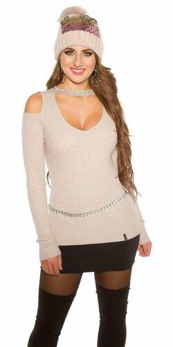 Vrúbkovaný sveter s nitmi | Cappuccino