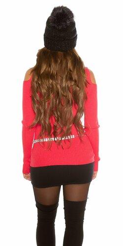 Vrúbkovaný sveter s nitmi Koralová