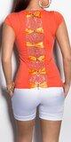 Dámske Mašličkové tričko s čipkou Koralová