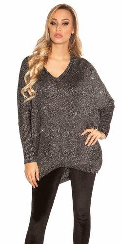 Voľný lesklý svetrík | Čierna