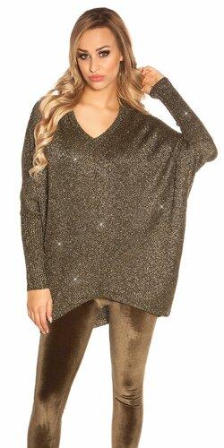Voľný lesklý svetrík | Khaky