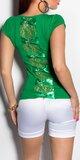 Dámske Mašličkové tričko s čipkou Zelená