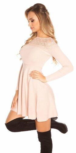 Pletené šaty s bodkovanou sieťkou Bledá ružová