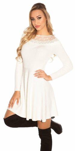 Pletené šaty s bodkovanou sieťkou | Biela