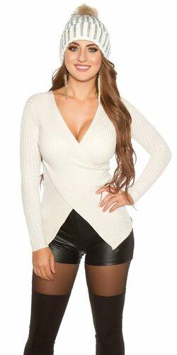 Wrap look sveter s vláknami v zlatej farbe Béžová