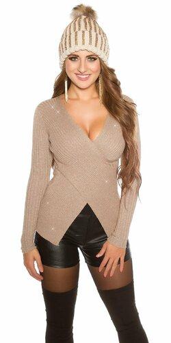 Wrap look sveter s vláknami v zlatej farbe Cappuccino