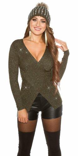 Wrap look sveter s vláknami v zlatej farbe | Khaky
