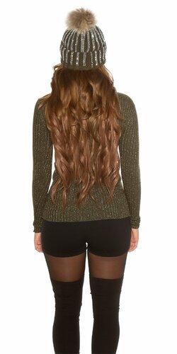 Wrap look sveter s vláknami v zlatej farbe Khaky