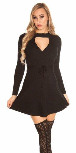 Vrúbkované pletené šaty s výstrihom | Čierna