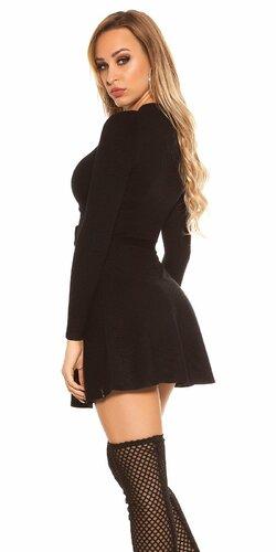 Vrúbkované pletené šaty s výstrihom Čierna