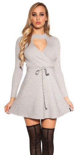 Vrúbkované pletené šaty s výstrihom | Šedá