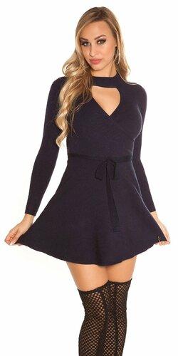 Vrúbkované pletené šaty s výstrihom | Tmavomodrá