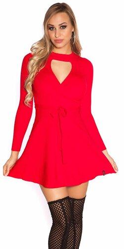 Vrúbkované pletené šaty s výstrihom (Červená)
