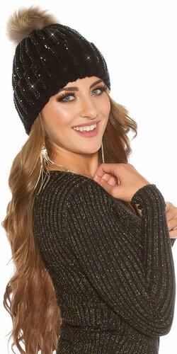 Kamienková pletená čiapka | Čierna