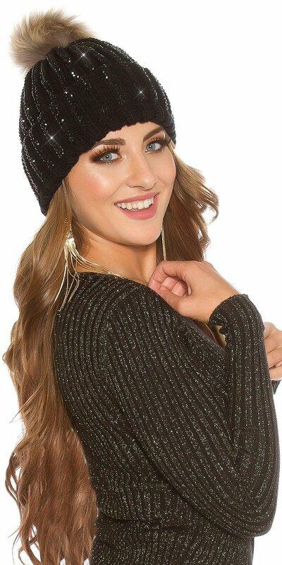 Kamienková pletená čiapka Čierna