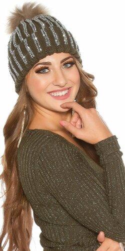 Kamienková pletená čiapka | Khaky