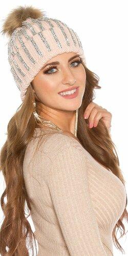 Kamienková pletená čiapka (Bledá ružová)