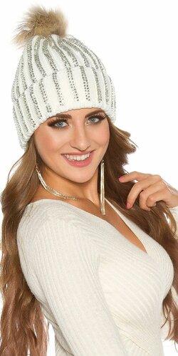 Kamienková pletená čiapka | Biela