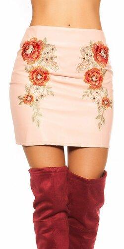 Mini sukňa koženého vzhľadu s kvetmi Bledá ružová