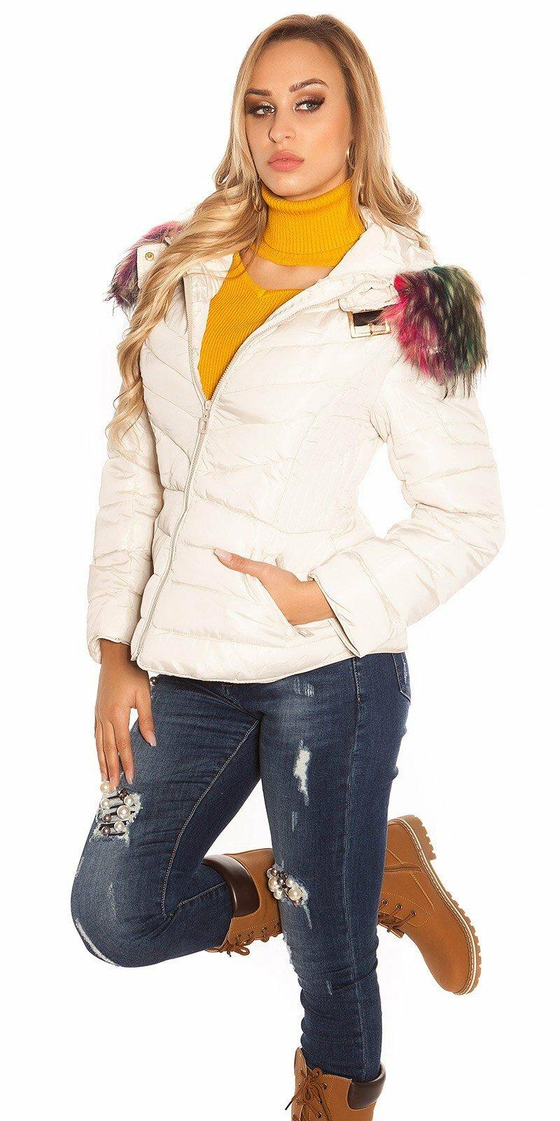 c852b0a4465d Zimná bunda s farebnou kožušinou  Veľkosť S Farba Béžová