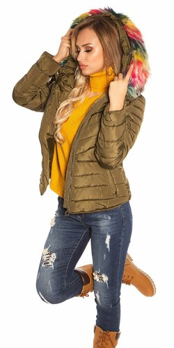 Zimná bunda s farebnou kožušinou | Khaki
