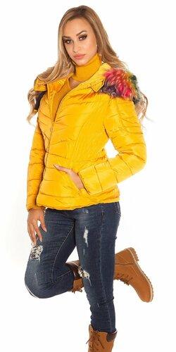 Zimná bunda s farebnou kožušinou Horčicová