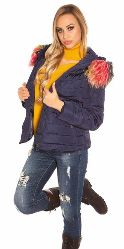 Zimná bunda s farebnou kožušinou | Tmavomodrá