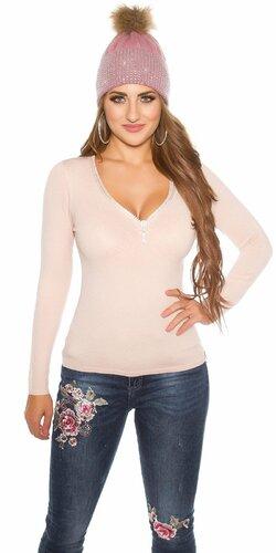 Klasický sveter s kamienkovým zipsom | Bledá ružová