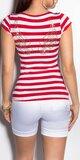 Dámske Prúžkované tričko Červená