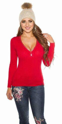 Klasický sveter s kamienkovým zipsom Červená