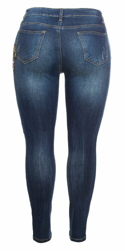 Moletkovské džínsy s kvetinami Modrá