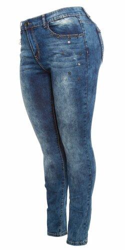 Modré plus size džínsy | Modrá