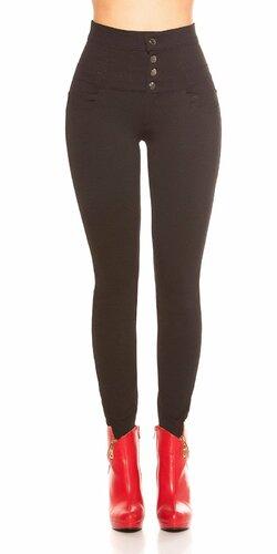 Čierne Koucla nohavice so zvýšeným pásom