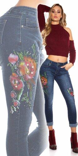 Dámske zdobené džínsy | Modrá