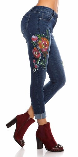 Dámske zdobené džínsy Modrá