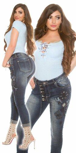 Moletkovské džínsy s kvetinovými výšivkami Modrá